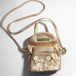 Betsey Johnson Rose Gold Mini Backpack Purse